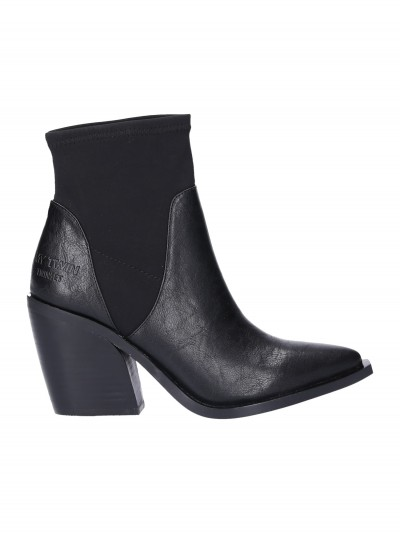 Twin-Set  My Twin - Leather ankle boots with stretch inserts 192MCT020 NERO