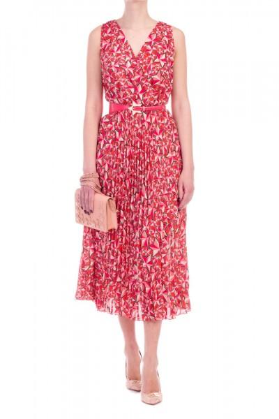 Elisabetta Franchi  Sleeveless dress with star print and belt AB68791E2 Bouganville/Peonia
