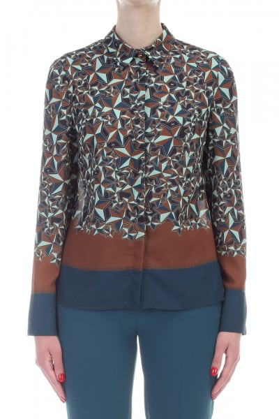 Elisabetta Franchi  Shirt with multi-tone star print CA18291E2 Ottanio/Gianduia