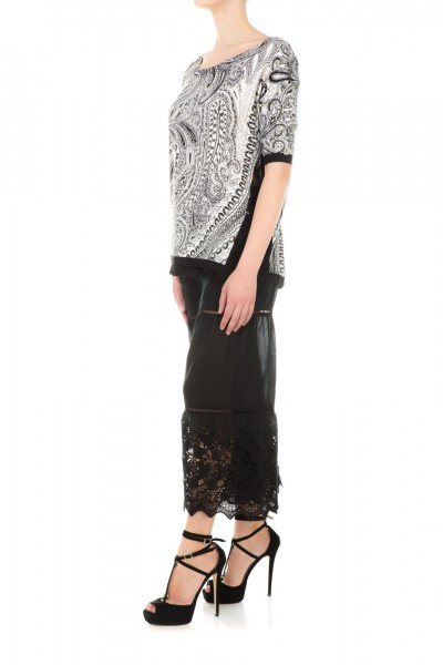 Twin-Set  Patterned tshirt with lace TS63D1