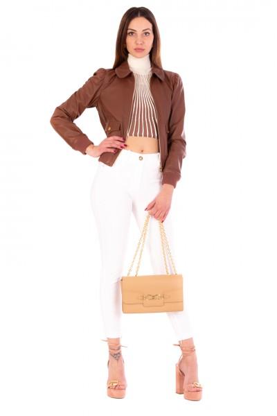 Elisabetta Franchi  Leather jacket with pockets GD15Z11E2 Cioccolato