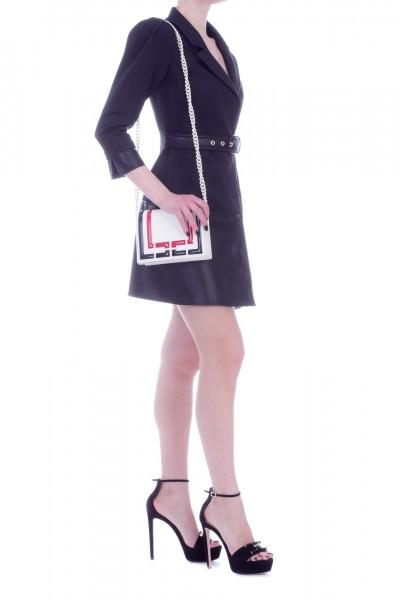 Elisabetta Franchi  Abito con cintura e inserto pelle AB56391E2 Nero