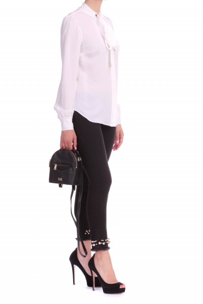 Manila Grace  TROUSERS WITH PEARLS AND FRINGED HEMS J334DU