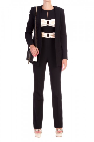 Elisabetta Franchi  Long jacket with hooks GI15496E2 Nero