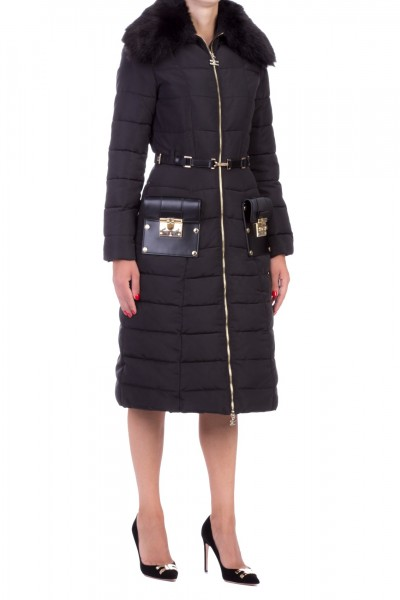 Elisabetta Franchi  Long quilted jacket with belt and fur PI10Z96E2 Nero
