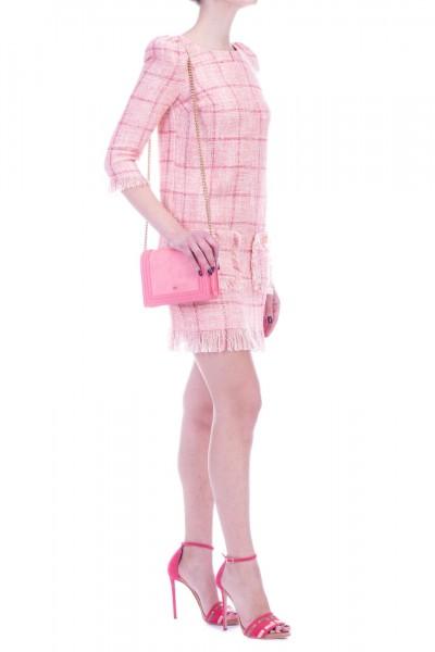 Elisabetta Franchi  Mini dress in bouclè fabric with fringed hems AB69891E2 Peonia