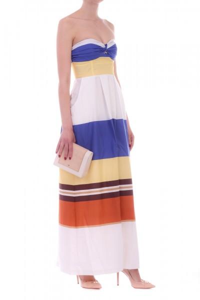 Manila Grace  Striped long dress with sweetheart neckline R639CI BLUETTE
