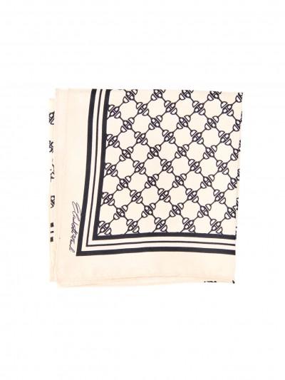 Elisabetta Franchi  Silk scarf with print FO01F11E2 Burro/Nero