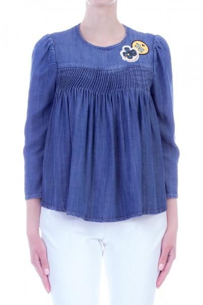 Elisabetta Franchi  Denim shirt with curling CJ02D91E2 Blue vintage