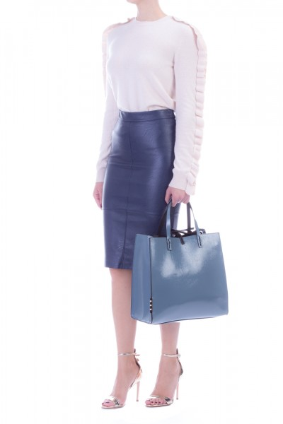 Manila Grace  Synthetic leather pencil skirt model Fanny FANNX3 BLU NAVY