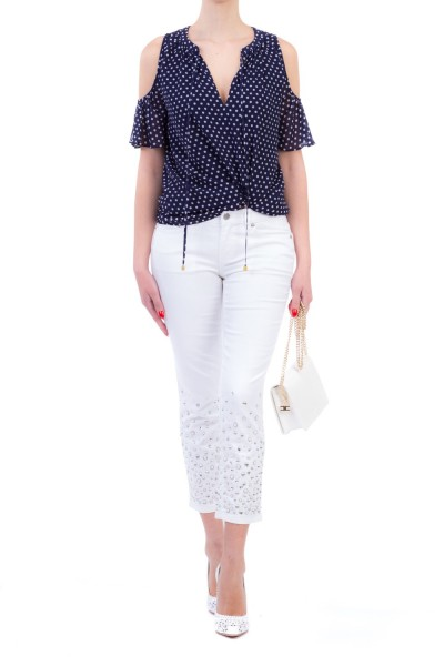 Michael Kors  COLD SHOULDER BLOUSE WITH POLKA DOT PRINTS MS84LEJ8MP