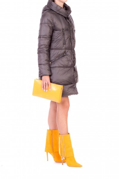 Manila Grace  Hooded quilted coat with maxi zips K152NU