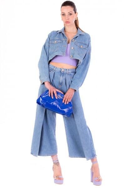 Manila Grace  Jeans crop con maxi pieghe J013D7 LIGHT BLUE