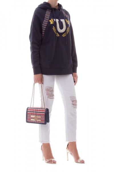 Manila Grace  Oversize hoodie t with logo W161CU BLU NAVY