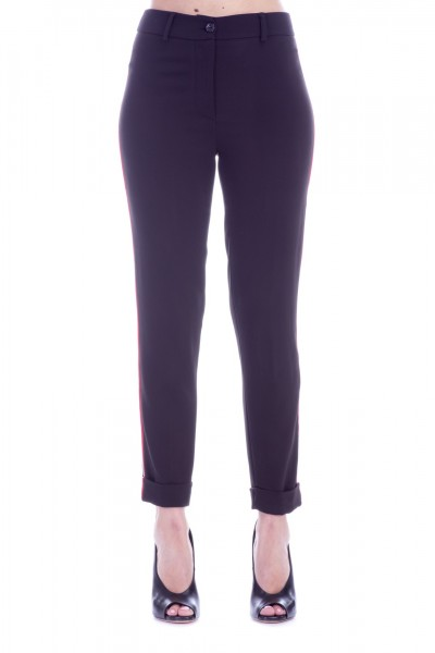 Manila Grace  Chino trousers with contrasting bands P148VU NERO LAVAGNA