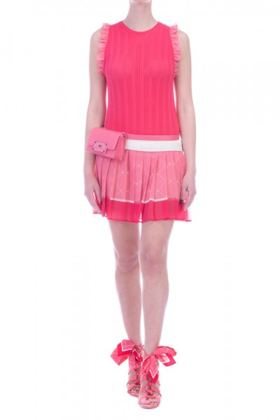 Elisabetta Franchi  Knit dress with touches and pleated skirt AM12L91E2 Bouganville/Peonia
