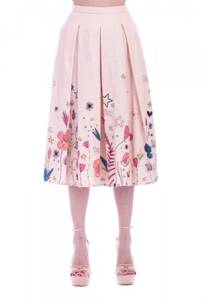 Elisabetta Franchi  Longuette skirt with floral print GO17591E2 Cipria