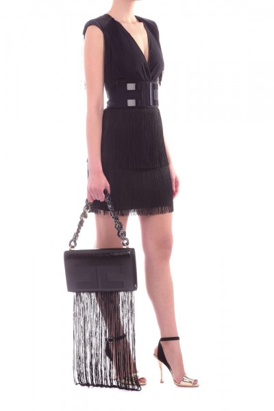 Elisabetta Franchi  Mini abito smanicato con frange e logo AB82492E2 Nero