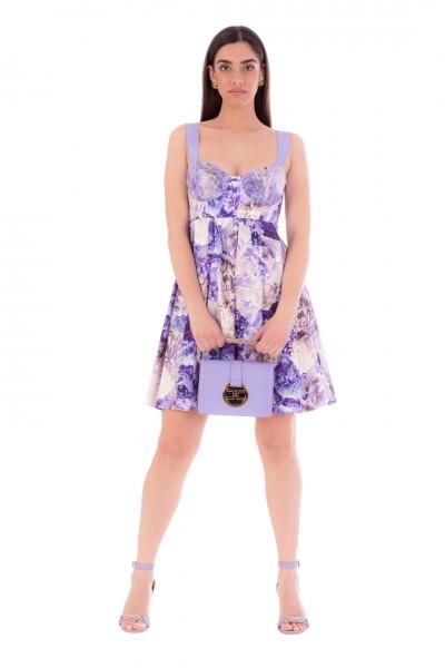 Elisabetta Franchi  Mini dress with empire cut and peony print AB13411E2 Lavanda