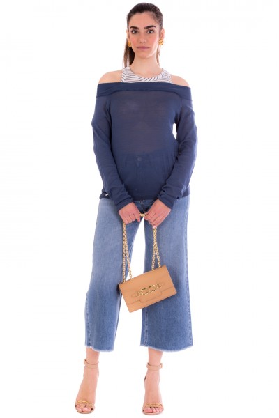 Manila Grace  Jeans crop con sgamba svasata J417D6 MEDIUM BLUE