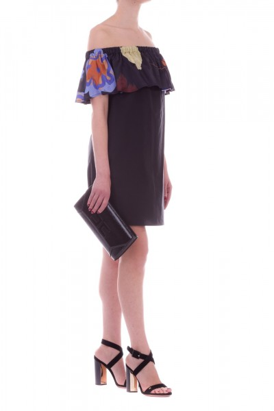 Manila Grace  Off-shoulder dress with printed ruffle A637CS NERO LAVAGNA