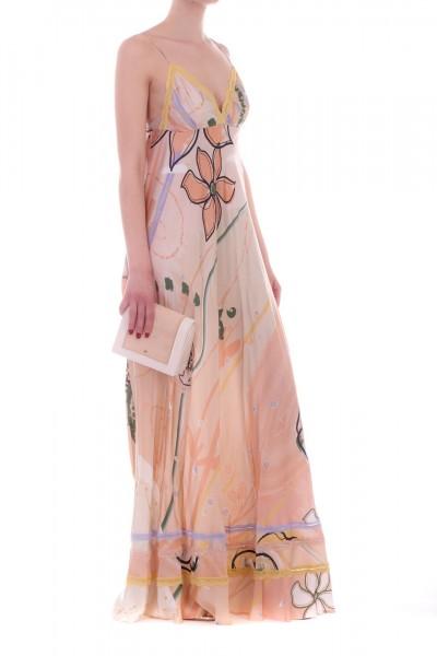 Manila Grace  Long dress with floral print R693VS VAR.UNICA