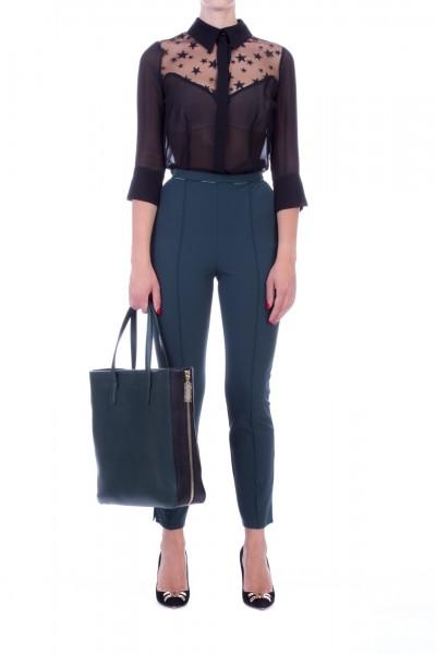 Elisabetta Franchi  Stretch cigarette trousers with piping PA32296E2 Verde bottiglia