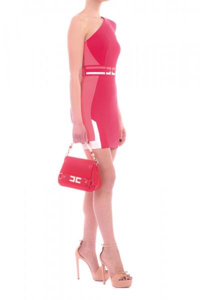 Elisabetta Franchi  Abito mini monospalla con logo AB80192E2 Ribes/Flamingo