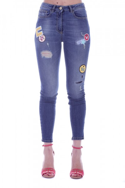Elisabetta Franchi  Jeans with patches and rips PJ24S91E2 Blue vintage