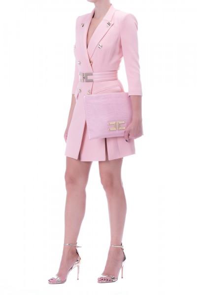 Elisabetta Franchi  Coat dress with loged belt AB11897E2 Rosa Antico