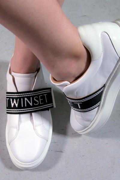 Twin-Set  Sneakers con fascia logata 201TCP134 BIANCO OTTICO