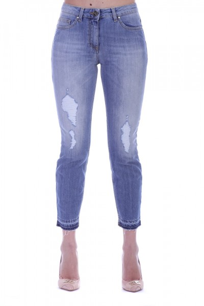 Elisabetta Franchi  Jeans destroyed con orli sfrangiati PJ11M91E2 Light Blue