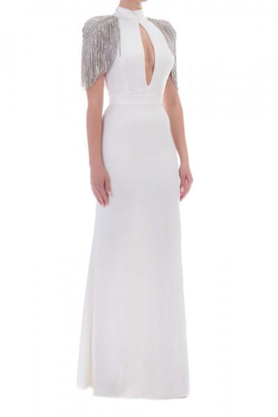 Elisabetta Franchi  Long dress with fringes on the shoudlers AB13398E2 Avorio