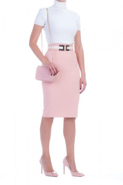 Elisabetta Franchi  Pencil skirt with belt with logo GO32197E2 Rosa Antico