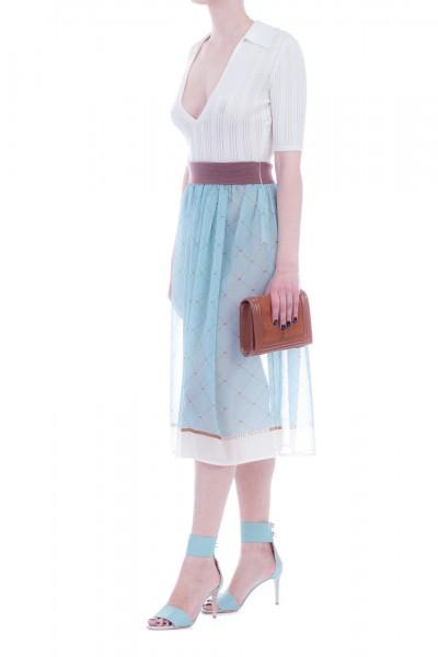 Elisabetta Franchi  Dress with knit top and diamond printed skirt AM11L91E2 Burro/Acquamarina