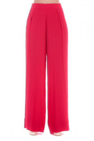 Manila Grace  Palazzo trousers with pleats P602SU CILIEGIA