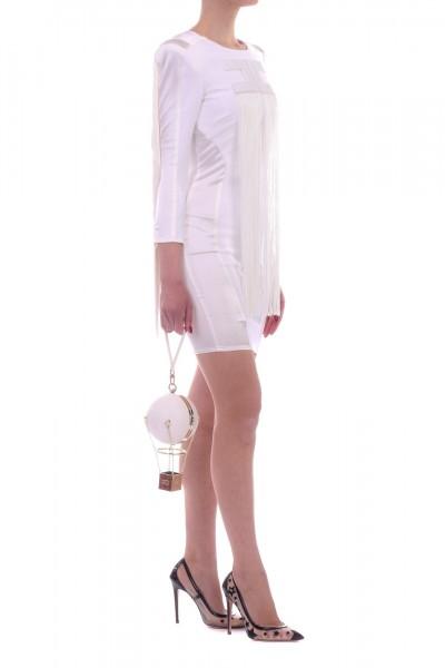 Elisabetta Franchi  Mini abito con frange e maxi logo AB82392E2 Avorio