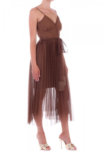 Motel  Dress with pleated tulle 09/004 Cacao