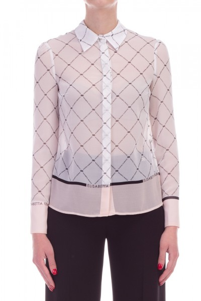 Elisabetta Franchi  Diamond printed shirt with logo CA18691E2 Avorio