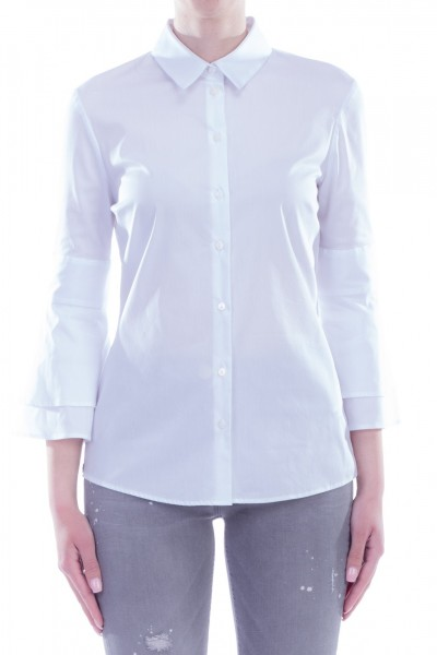 Manila Grace  Shirt with flared sleeves C003CU BIANCO OTTICO