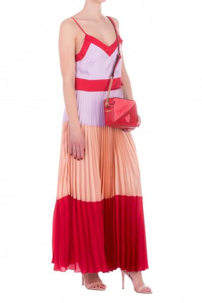 Twin-Set  Colorful satin dress 201TP2310 MUL.ROSSO LAVA/BALLE