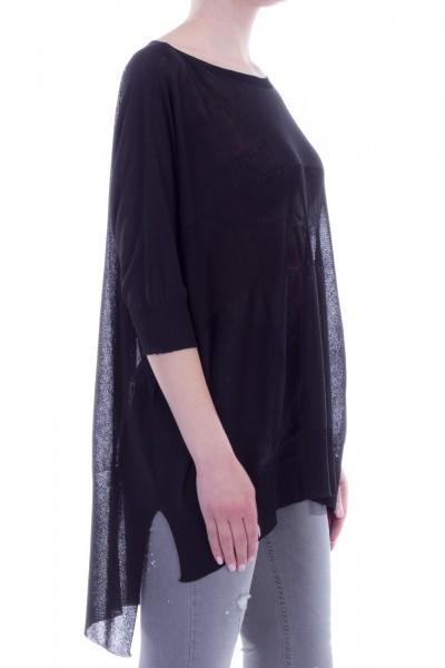 Manila Grace  Asymmetric oversized sweater MILA00 NERO LAVAGNA