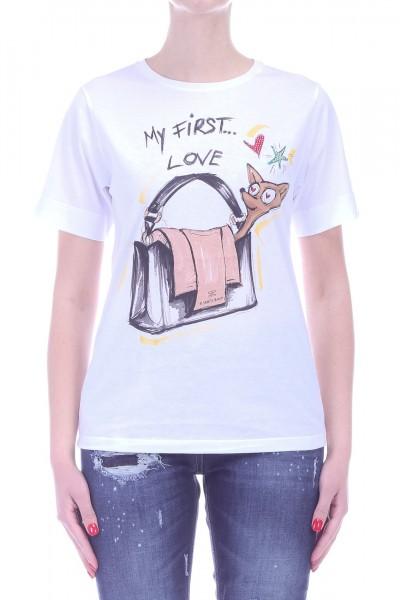 Elisabetta Franchi  T shirt with My fisrt love Print MA04C91E2 Gesso