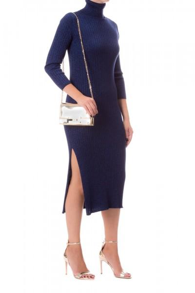 Elisabetta Franchi  Turtleneck knit dress with slits AM68T97E2 Blu