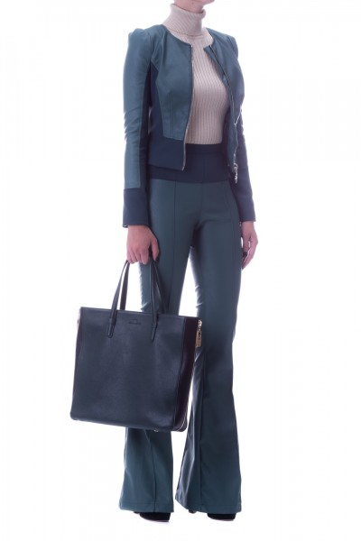 Elisabetta Franchi  Flared trousers in faux leather PA03197E2 Verde bottiglia