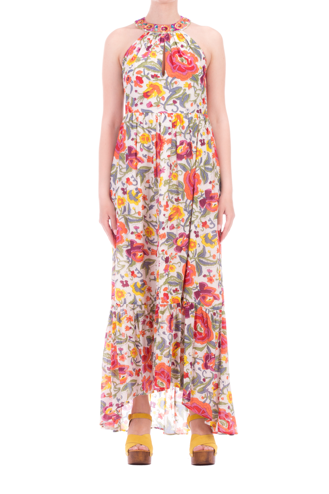 Long floral dress with embroidered collar
