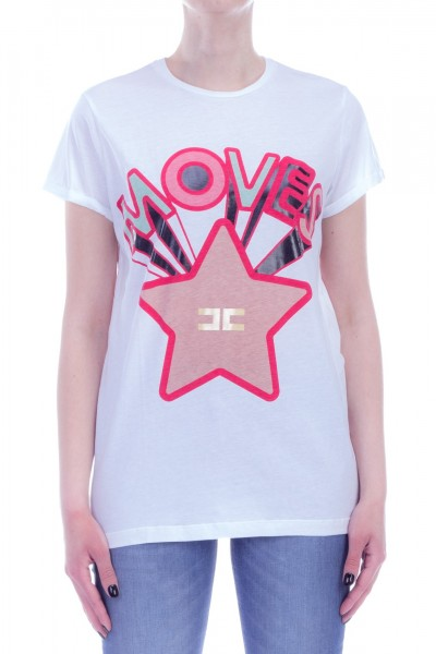 Elisabetta Franchi  T-shirt with Moves print and star MA10891E2 Gesso