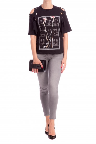 Elisabetta Franchi  Printed t-shirt with ribbons MA08086E2