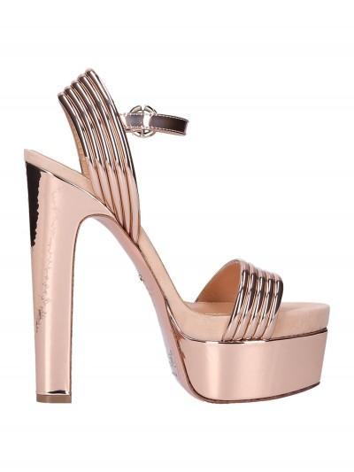 Elisabetta Franchi  Metallized sandals with platform SA40L98E2 Rosa Antico