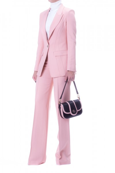 Elisabetta Franchi  Jacket and trousers outfit with piping TP02798E2 Rosa Antico